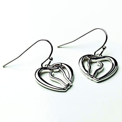 Horse Head Earrings (Horse Head as Heart Earrings - Silver)