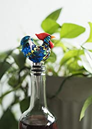 Country Cottage Rooster Glass Bottle Stopper by Twine – Decorative Wine Bottle Stopper