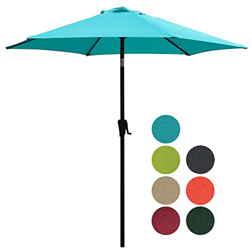 PATIOROMA 7.5 Feet Outdoor Patio Umbrella with Push-button Tilt and Crank, 6 Ribs, Polyester Canopy, Turquoise (Tilting Umbrellas Patio Sale)
