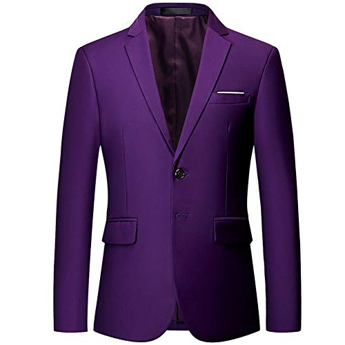 Single Breasted Two Button Sport Coat - Mens Slim Fit Blazer Jacket Two-Button Notched Lapel Casual Suit Jacket Purple