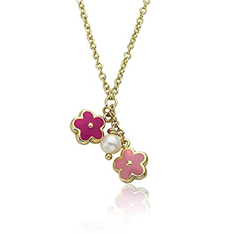 Little Miss Twin Stars Frosted Flowers 14k Gold-Plated Necklace Accented With Pink, Hot Pink & Fresh Water Pearl Center Cluster/ (Little Miss Twin Stars Necklace)
