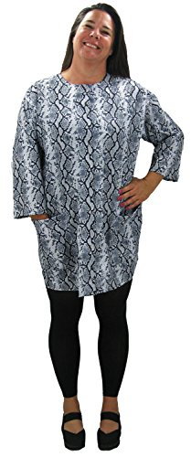 Price comparison product image Plus Size Python Print Hair Salon Stylist Jacket for Women with a Water Resist Finish