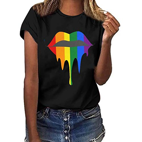 〓COOlCCI〓Graphic Tee Shirt for Women Teen Girls Short Sleeve Lips Print Graphic Tee Shirt Top Juniors Tees Black