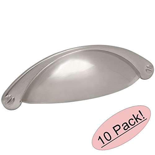 Cosmas Sn Satin Nickel Cabinet Hardware Bin Cup Drawer Handle Pull  Mm Hole Centers  Pack