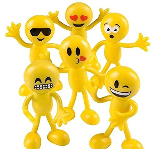 "Emoji Party Favors - Fun Toys - Stocking Stuffers - 2 Dozen 3"" Emoji Smiley Face Emoticon Bendables Bulk Pack of 24"