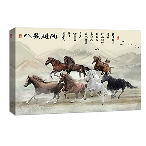 (NWT Canvas Wall Art Chinese Eight Horses Painting Artwork for Home Prints Framed - 24x36 inches )