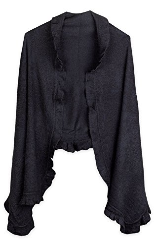 Ruffle Bed Jacket - Debra Weitzner Womens Cashmere-feel Knit Shawl Wrap Cape with Ruffled Trim