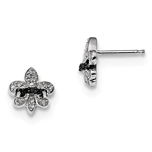 925 Sterling Silver Rhod Plated Black White Diamond Fleur De Lis Post Stud Earrings Fine Jewelry Gifts For Women For Her