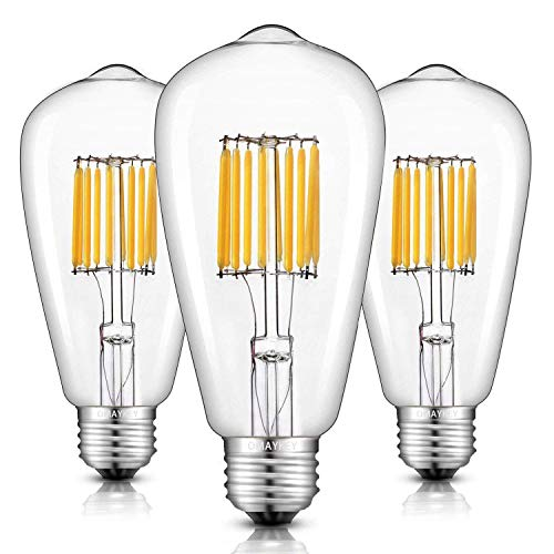 - OMAYKEY 10W LED Edison Bulb 100W Equivalent 2700K Warm White Glow 1000LM, E26 Medium Base ST64 Vintage Edison Light Bulbs, 360 Degree Beam Angle, Non-dimmable, Pack of 3