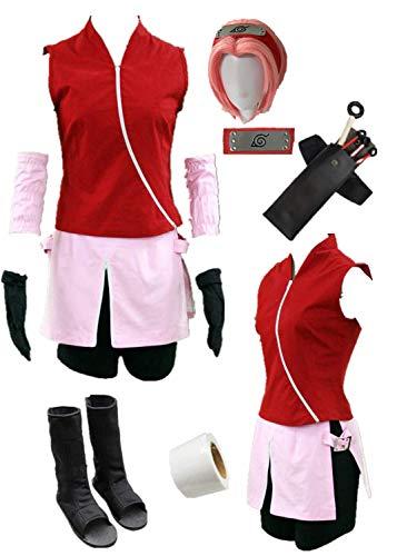 Cosplay For Children (Naruto Shippuden Haruno Sakura Cosplay Costume Halloween Full Set of Clothing Accessories (Child L-3XS))