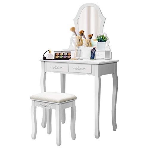 Set with Mirror for Makeup Modern Cushioned Bench Stool Bedroom Wood Style Furniture Top Removable Multifunctional Writing Desk Dressing Tables for Girls (White, 4 Drawers) ()
