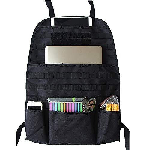 TEGOOL Tactical Car Seat Back Organizer,Tactical MOLLE Vehicle Nylon Panel Car Seat Cover Protector Hanger Bag Pad Universal Fit (Black)
