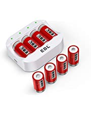 EBL RCR123A Rechargeable Batteries (8 Counts) 750mAh and Battery Charger - Ultra Fit for Arlo VMC3030 VMK3200 VMS3330 3430 3530 Wireless Security Cameras, ETL Certified