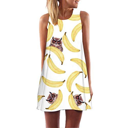 Toponly Women's Summer Casual Boho Floral Swing Tank Dress Sleeveless Beach Vintage Mini Dresses]()