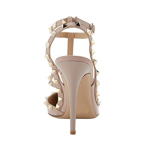 Women's High Heels,MERUMOTE Ankle Straps Rivets Shoes for Wedding Party Daily Wear Pumps apricot