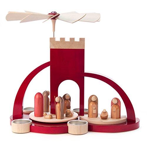 Red Bethlehem Wood Arch Nativity Tea Light German Pyramid - Christmas Carousel by Dregeno (Image #1)