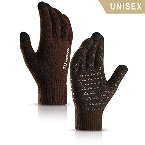 TRENDOUX Winter Gloves, Knit Touch Screen Glove Men Women Texting Smartphone Driving - Anti-Slip - Elastic Cuff - Thermal Soft Wool Lining - Hands Warm in Cold Weather - Coffee - M