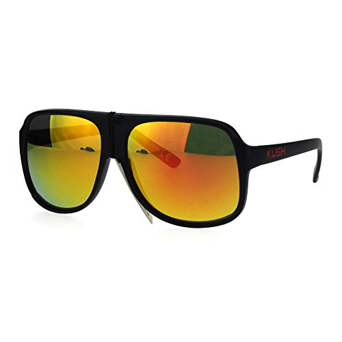 KUSH Sunglasses Mens Square Racer Aviator Matte Black Frame Red, Orange - Sunglasses Juicy Orange