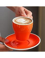 فناجين قهوة وصحون سيراميك 180 مل لون نقي 180ML Ceramic Coffee Cups And Saucers Pure Color