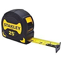 Stanley STHT33596 STHT33596 Tape Measure, 1/16 in Graduations, SAE, 1-1/8 in W x 25 ft L, Steel, Yellow/Black Blade, Closed