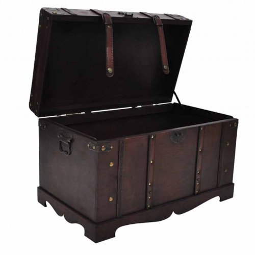 Vintage Large Wooden Treasure Chest Jewelery Cabinet Clothes Storage Box