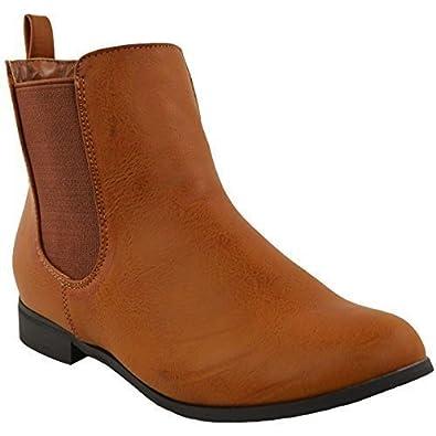 Mujeres Tacón Bajo Plano Chelsea Botines Elástico Gusset Sin Cremallera Equitación Zapatos de tacón Talla - Gamuza Negra, 39
