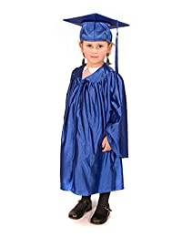 Childrens graduation gowns (age 3-5) and matching cap (shiny look) (Royal Blue)