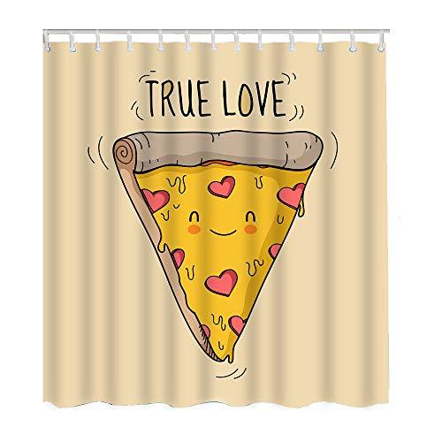Moslion Pizza Shower Curtains Cute Smile Face Triangle Cheese Heart Salami True Love Bathroom
