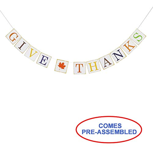 Give Thanks Paper Banner Hanging Garland - Thanksgiving