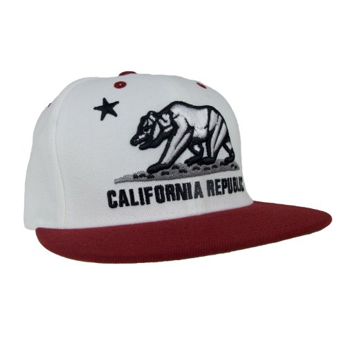 WHANG California Bear Logo Flag Republic Flat Bill Snapback - One Size - White / Cardinal