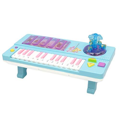 D DOLITY Juguete de Instrumento Muscial Órgano Electónico de 14 Teclados con Tiovivo Juego de Diversión para Niños - Azul