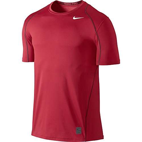 NIKE Men's Pro Fitted Short Sleeve Shirt, Gym Red/Team Re...