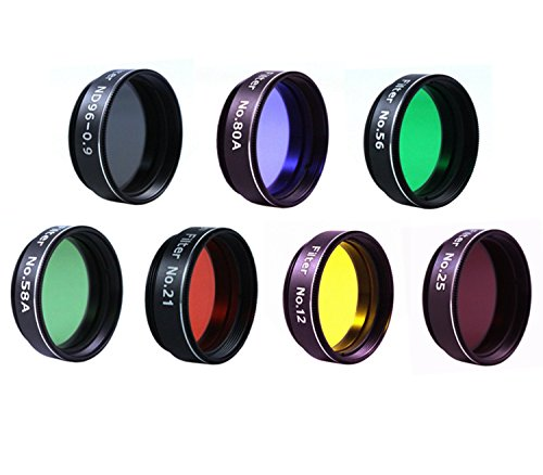 Astromania Filter Set of 1.25-Inch Seven Telescope Filters - Incredible value to have most commonly used color plantary eyepiece filters