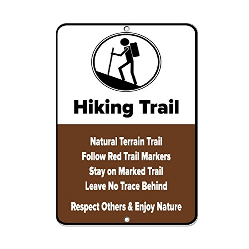 "MagRaphael Hiking Trail Natural Terrain Trail Follow Red Trail Markers Aluminum Metal Sign 12""x 18"""