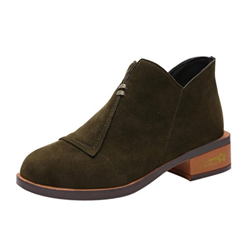 HLHN Women Ankle Boots, Roman Zip Leather Block Flat Heel Ladies Martin Boots Vintage Shoes Autumn Green