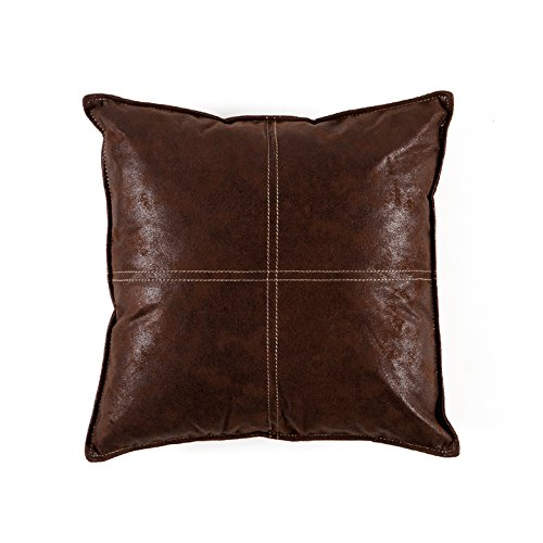 Torre & Tagus 901924B Maverick Faux Leather Cushion Pillow, 18 by 18-Inch, Chocolate Brown