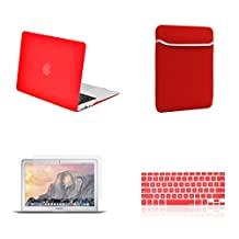 "Unik Case-4 in 1 13 Inch Rubberized Hard Case,Screen Portector,Sleeve Bag & Silicone Skin for Macbook 13"" Air A1369/A1466 Shell Cover-Red"