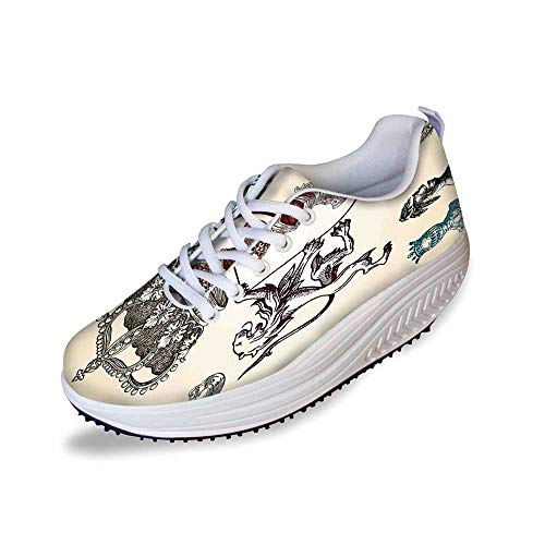 (Medieval Stylish Shake Shoes,Shield Design with Various Ancient Figures Coat of Arms Blazon Crown Print for Women,10 )