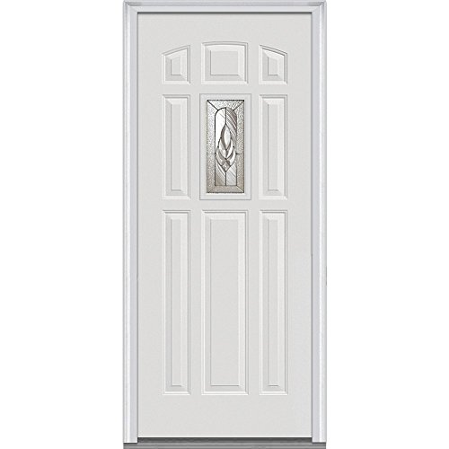 """UPC 769001032723, National Door Company Z000672R Prehung Right Hand Inswing Entry Door, Brentwood Decorative Glass, 1/4 Lite, 8-Panel Steel, 36"""" x 80"""""""