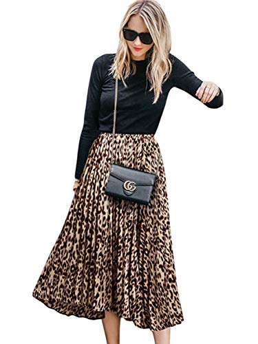 CHOiES record your inspired fashion Women's Leopard Print Long Skirts Elastic High Waisted Plus Size Bohemian Maxi Skirt l