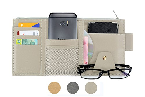 SweetyLady PU Leather Multi-function Car Space Sun Visor Organizer Bag Hanging Card Phone Storage Pouch Holder (Organizer Visor Sun)