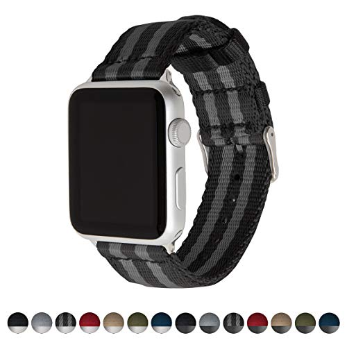 Archer Watch Straps Seat Belt Nylon Watch Bands for Apple Watch (Black/Gray, Stainless, 42mm)