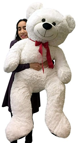 Giant Teddy Bear 52 Inch White Soft, Premium Quality Big Plush Valentines Day Gift, Stuffed Very Full and Plump and Huggable Plushie