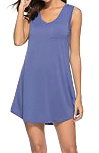 Cromoncent Été Des Femmes De Base Sans Manche Solide V-cou T-shirt Robe Swing Violet