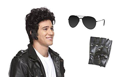 [Greaser Rollin 80s Costume Kit - Black Lens Aviator] (80s Rock N Roll Costumes)