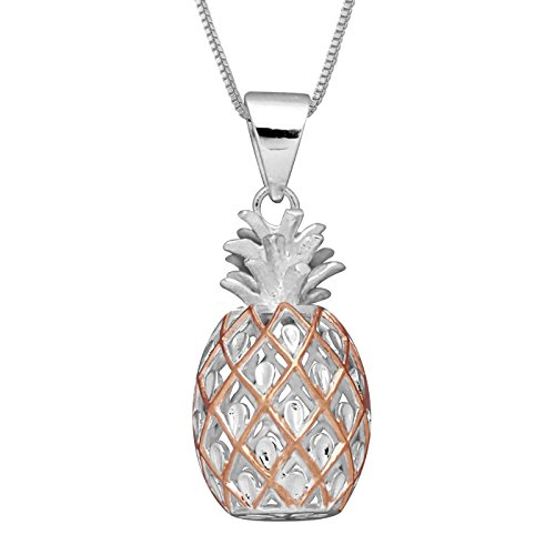 Sterling Silver with 14kt Rose Gold Plated Accents Large Pineapple Pendant Necklace, 16+2