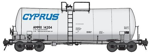 40' UTLX 16,000-Gallon Funnel-Flow Tank Car - Ready to Run -- Cyprus AMMX #14204 (white, - Run 16000 Funnel Gallon