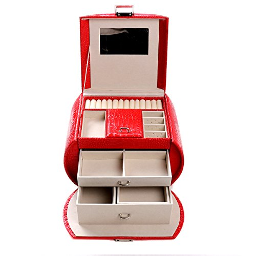 Jewel Cabinet - SAKULA Red Jewelry Box Lockable Jewelry Case Faux Leather Mirrored Storage Organizer Necklace Ring Storage Jewel Cabinet Gift Case
