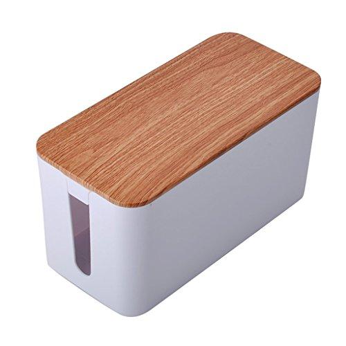 Ala De Pollo Woodstorage Box, Caja De Organizador De Caja De Gestión De Cable Para Escritorio, PC, TV, Hogar Y Oficina,...