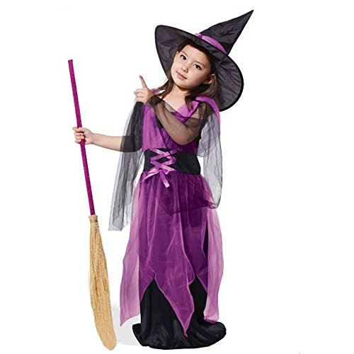 Diy Halloween Costumes Dead Girl (Mosunx Girls Fairytale Toddler Witch Costume (Suit for age:13-15Y, Purple))